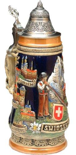 Beer Mug by King - Switzerland And Landmarks Full Relief German Beer Stein Beer Mug 05l