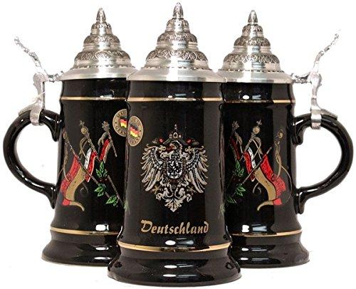 Black Deutschland Germany Flags German Beer Stein 25L One Mug Made in Germany