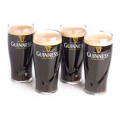 Guinness Gravity 20oz Embossed Pint Beer Glasses 14K Gold Harp Logo  Gift Boxed 4 Pack