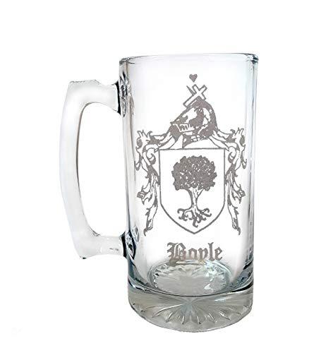 Custom Family Crest Glass Stein 26oz Coat of Arms
