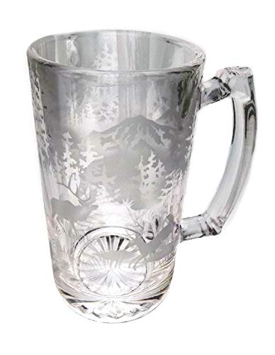 IncisoArt Hand Etched 25 Ounce Champions Beer Mug Sandblasted Sand Carved Handmade Glass Stein Forest Mountain Animal Combo