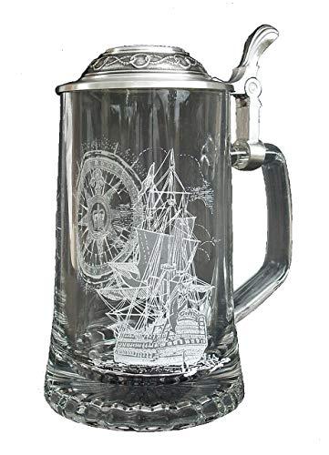 Nautical Stein German Beer Glass Stein wAnchor Pewter Lid