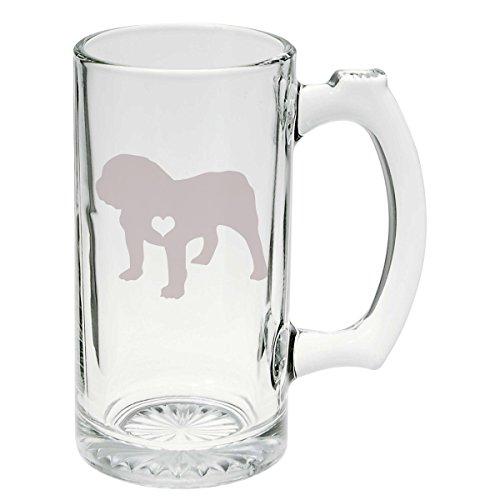 Bulldog Etched Glass Stein Mug 25 ounce