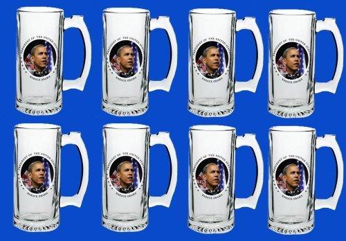 Set Of 8 Barack Obama Commemorative Beer Mug Glasses Steins - In Stock Ships Right Away