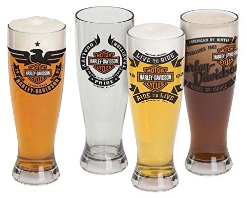 Harley-Davidson Bar Shield Acrylic Pilsner Glasses Set 22 oz HDL-18775