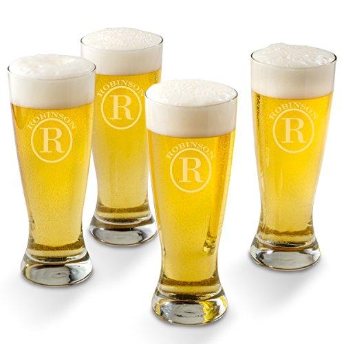 Personalized Pilsner Beer Glass Set of 4 Glasses - Circle Monogram