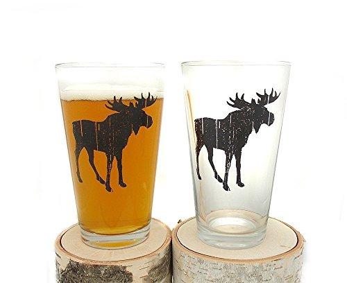 Pint Glasses - Rustic Moose Beer - Set of Two Screen Printed Pint Glasses