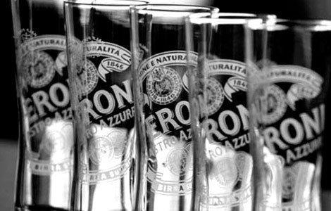 6 Peroni Half Pint Glasses Brand New