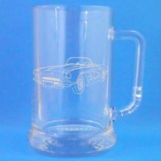 1 English Pint Glass Tankard With 1960 Chevrolet Corvette Design