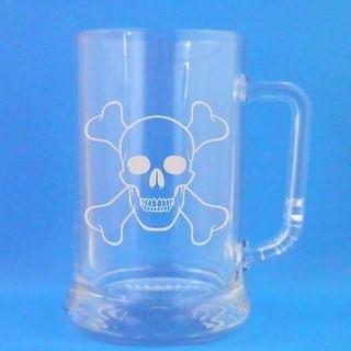 1 English Pint Glass Tankard With Skull and Crossbones Design