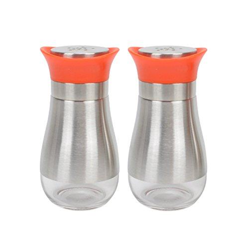 Evelyne GMT-10207-O Salt Pepper Seasoning Glass Shaker with Stainless Steel Cover 2-Piece Pack Set Orange