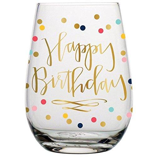 Birthday Wine Glass - 20 oz Happy Birthday Stemless Wine Glass Multicolor Confetti Perfect Birthday Gift