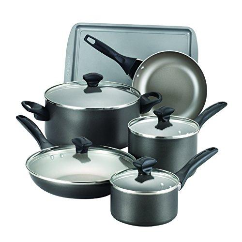 Farberware Dishwasher Safe Nonstick Aluminum 15-Piece Cookware Set Pewter
