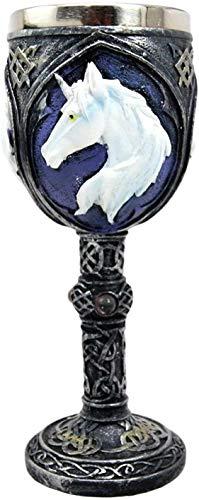 Bellaa 22548 Unicorn Goblet Wine Chalice Ossuary Resin Body Stainless Steel 8 inch Bellaa
