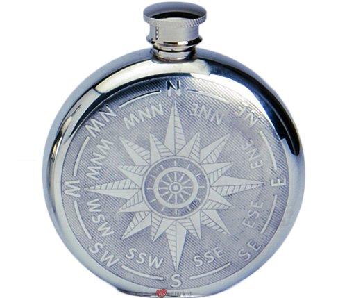 6oz Pewter Spirit Liquor Hip Flask - Round with Ships Compass Star Design