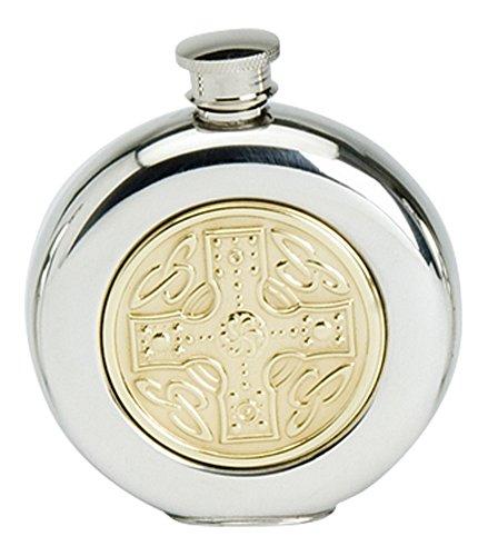 Stylish Slimline 6oz Round Polished Pewter Handcast Bottle Pocket Hip Flask Featuring Brass Celtic Cross Insert