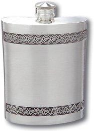 Visol Seville Pewter Liquor Flask 6-Ounce Silver