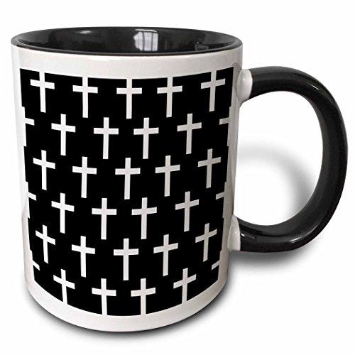 3D Rose 185484_4 Christian Pattern with White Religious Crucifix Crosses Two Tone Ceramic Mug 11 oz Black
