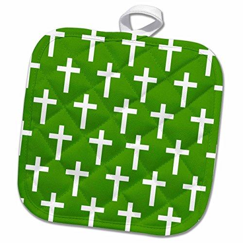 3dRose InspirationzStore Christian Designs - Dark Green Christian Cross pattern - white religious crucifix crosses - 8x8 Potholder phl_185489_1