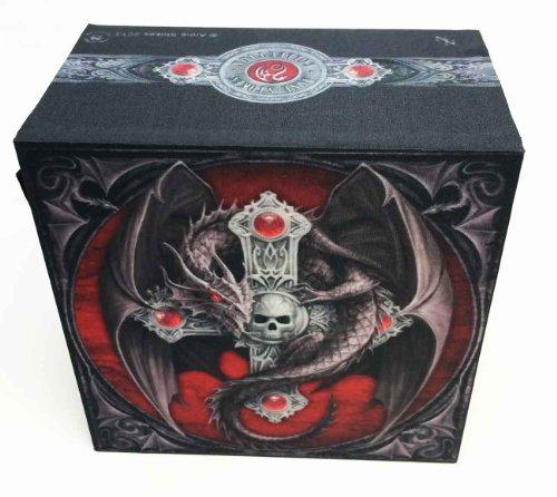 GOTHIC DRAGON SKULL DARK CRUCIFIX JEWELRY MIRROR BOX BY ANNE STOKES