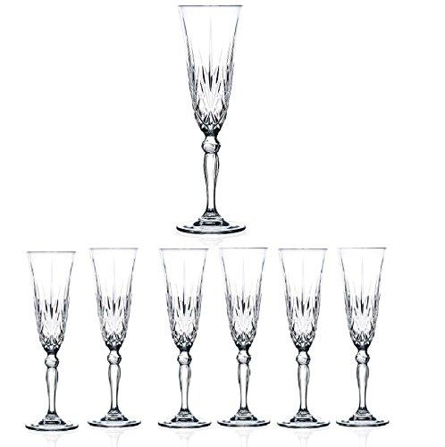 Elegant Crystal Champagne Toasting Flutes Sparkling Design Set of 6 GlassesIdeal for Marriage Proposal WeddingParty Essentials