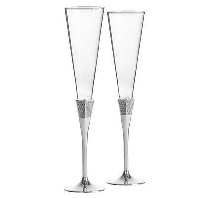 Lismore Diamond Toasting Champagne Flute Glass Set of 2