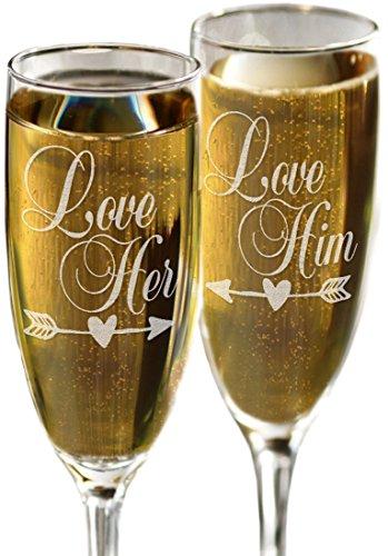 Love Him Love Her Set of 2 Valentines Day Champagne Glasses Decor Toasting Champagne Glass Flutes for Anniversary Wedding Valentines Celebration