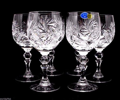 Russian Cut Crystal Red White Wine Glasses Goblets Stemmed Vintage Design Glassware 85 Oz Hand Made