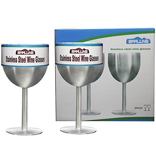 Stainless Steel Wine Glasses Goblet 10Oz Made of Unbreakable BPA Free Shatterproof Steel 100 Lifetime Satisfaction Guarantee- Set of 2