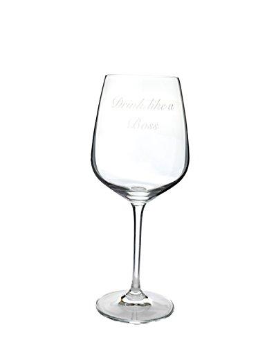 Fancy Custom Etched 18oz Professional Crystal Wine Glass