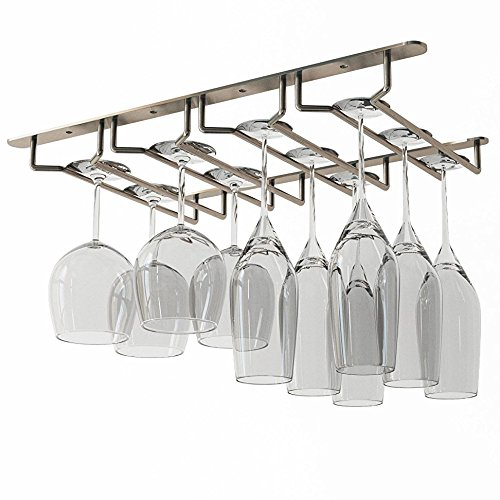 WALLNITURE Stemware Wine Glass Rack Under Cabinet Storage Oil Rubbed Finish 17 34 Inch
