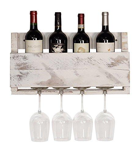 del Hutson Designs - The Little Elm Wine Rack USA Handmade Reclaimed Wood Wall Mounted 4 Bottle 4 Long Stem Glass Holder White