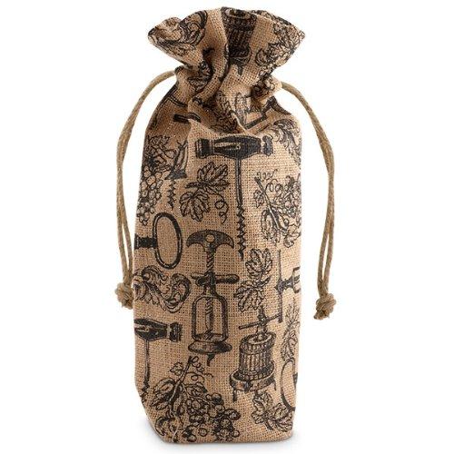 Epic 43-799 Antique Corkscrews Drawstring Jute Bottle Bag Black Mosaic Artwork
