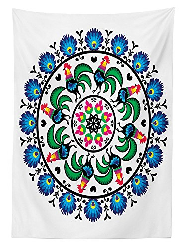 Gallos Decor Tablecloth Circle with Roosters Mandala Round Shape National Central Europe Symbol Mosaic Art Dining Room Kitchen Rectangular Table Cover