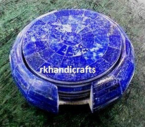 Set of 6 Pieces Lapis Lazuli Stone 4 White Marble Tea Coaster Inlay Unique Mosaic Art
