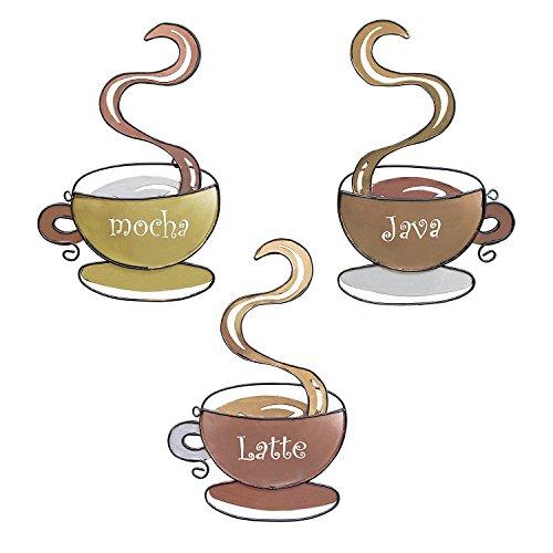 Coffee House Mug Cups Latte Java Mocha 3D Metal Wall Art Sculpture for Home Kitchen Decoration Gifts Restaurants