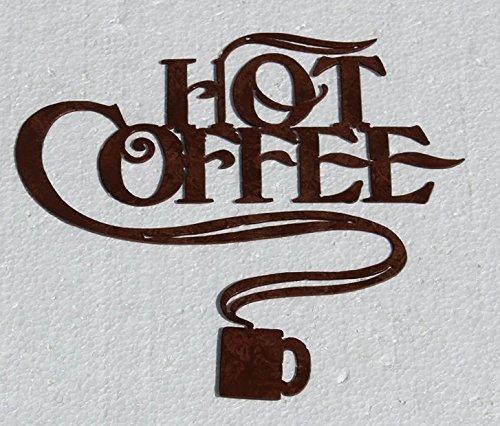 Hot Coffee and Coffee Cup Metal Wall Art HomeKitchen Decor