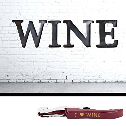 Wine Cork Holders - 4 Metal Letter W I N E Wine Cork Opener - Corkscrew With Bottle Opener Foil Cutter  Home Mancave Cellar  Wall Art Decor Gift for Wine Lovers Collectors Connoisseur Black