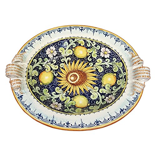 CERAMICHE DARTE PARRINI - Italian Ceramic Art Pottery Painted Tray Centerpiece Bowl Decorated Lemons Hand Painted Made in ITALY Tuscan