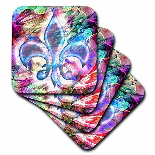 3dRose Fleur De Lis Abstract Art - Ceramic Tile Coasters set of 4 cst_104701_3