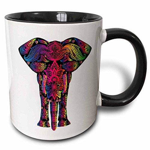 3dRose mug_240650_4 Colorful Abstract Art of Asia Elephant Two Tone black Mug 11 oz BlackWhite