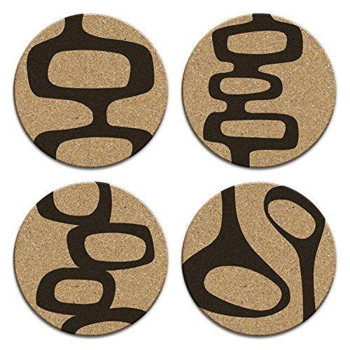 Mid Century Modern Retro Abstract Art Cork Coaster Set