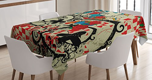 Music Tablecloth by Ambesonne Abstract Art Style Retro Design of Drums on Grunge Background Pattern Print Dining Room Kitchen Rectangular Table Cover 60W X 84L Inches Sage Green Red Black