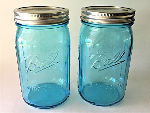 Ball Mason Jar-32 oz Aqua Blue Glass Ball Collection Heritage Color Series-Set of 2