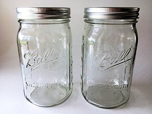 Ball Mason Jar-32 oz Clear Glass Ball Wide Mouth-Set of 2