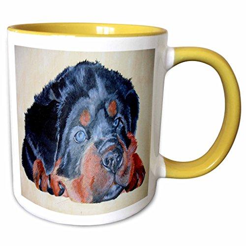 3dRose Taiche Acrylic Art - Dog Rottweiler Puppy - 11oz Two-Tone Yellow Mug mug_23732_8