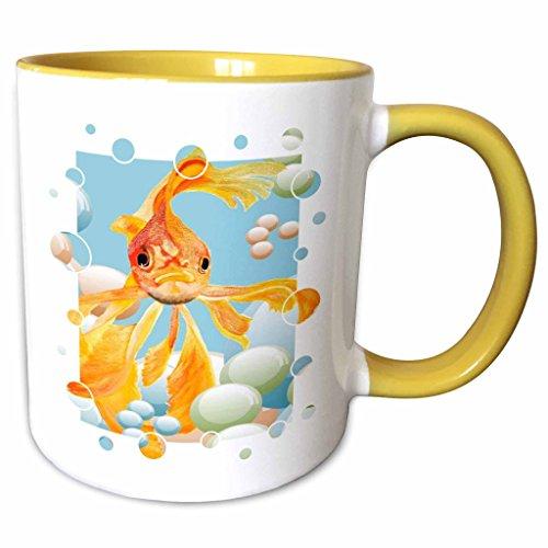 3dRose Taiche Acrylic Art - Fish Ryukin Goldfish - 11oz Two-Tone Yellow Mug mug_28157_8