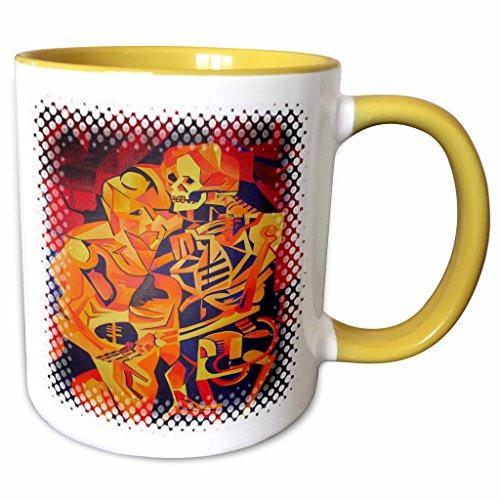 3dRose Taiche Acrylic Art - Halloween Skeletons - 11oz Two-Tone Yellow Mug mug_28166_8
