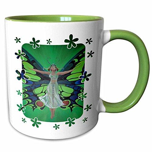 3dRose Taiche Acrylic Art - Woman Fairy Butterfly - 11oz Two-Tone Green Mug mug_24918_7