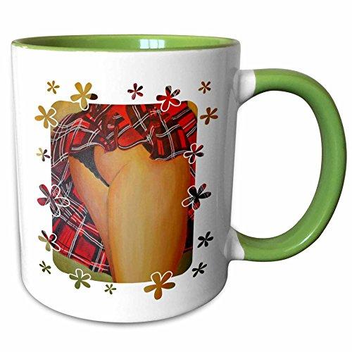 3dRose Taiche Acrylic Art - Woman Tartan Skirt - 11oz Two-Tone Green Mug mug_24920_7